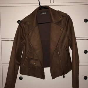 Miss guided brown faux suede jacket